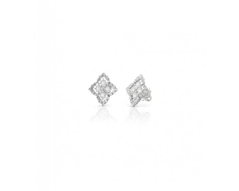 BUCCELLATI Boucles d'oreille Rombi or griis diamants