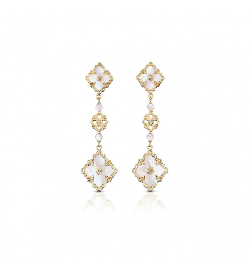 BUCCELLATI Boucles d'oreille pendantes Opera or jaune nacre
