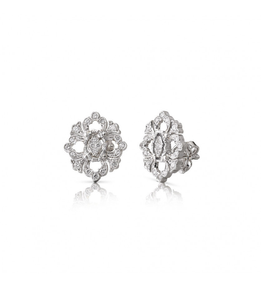 BUCCELLATI Puces d'oreilles Opera or gris diamants