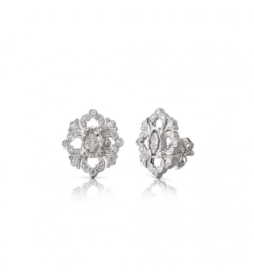 Puces d'oreilles Opera or gris diamants