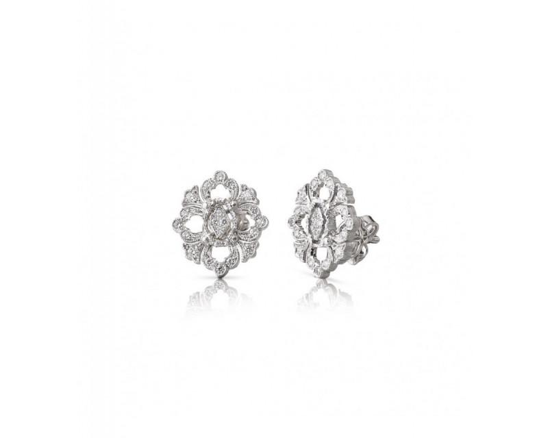 BUCCELLATI Puces d'oreilles Opera or gris diamants