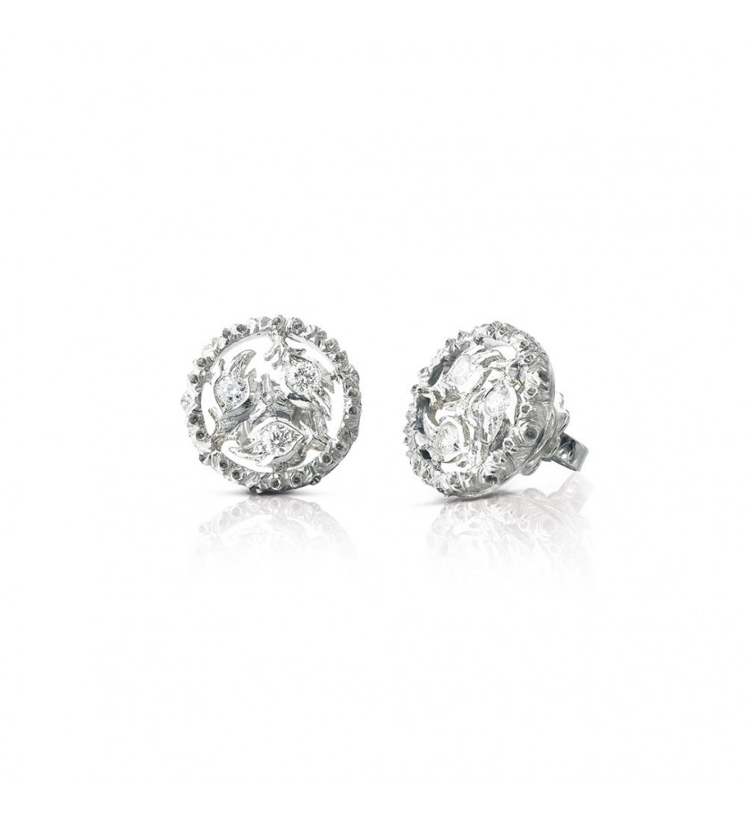BUCCELLATI Puces d'oreille Ramage or gris diamants
