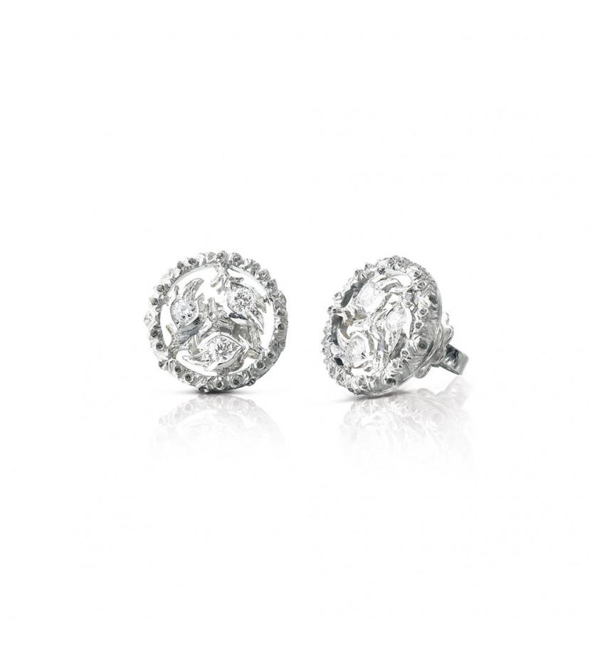 Puces d'oreille Ramage or gris diamants