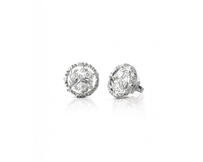 BUCCELLATI Puces d'oreille Ramage or gris diamants