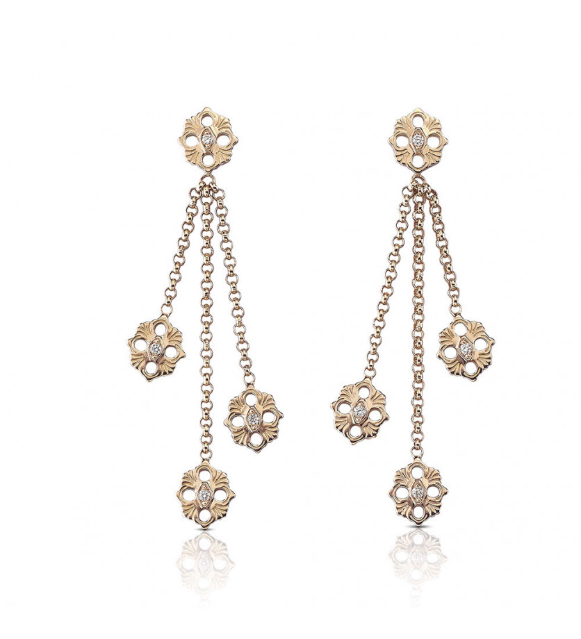 BUCCELLATI Boucles d'oreilles pendantes Opera or rose diamants
