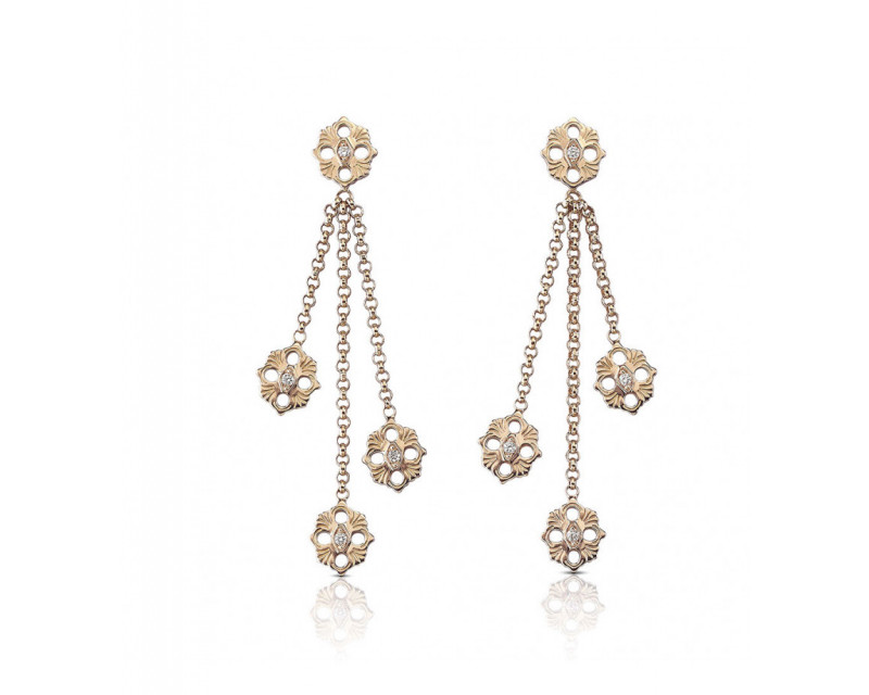 BUCCELLATI Boucles d'oreilles pendantes Opera or rose diamants