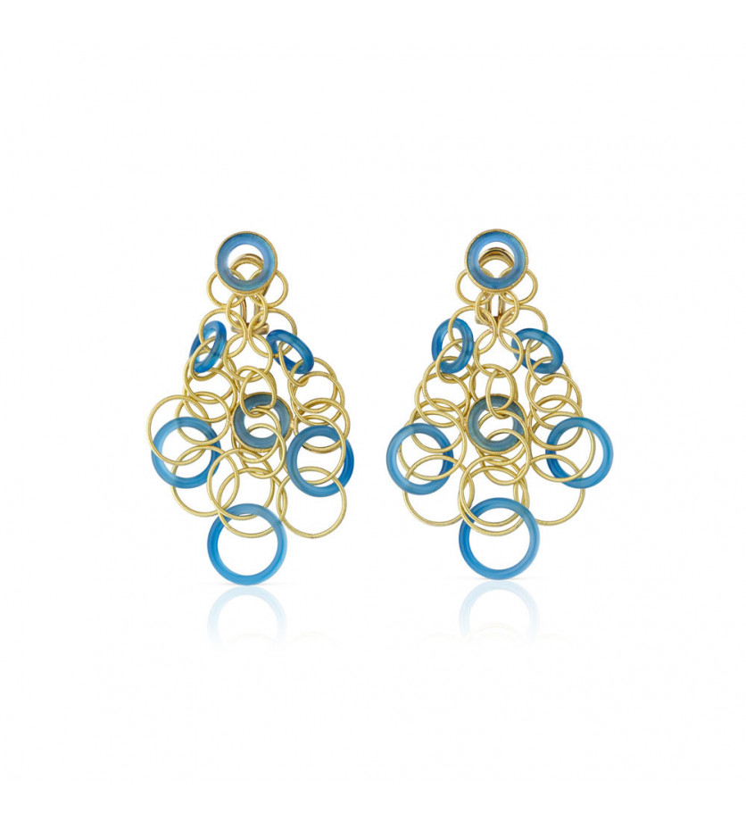 BUCCELLATI Boucles d'oreille Hawaii or jaune calcédoine