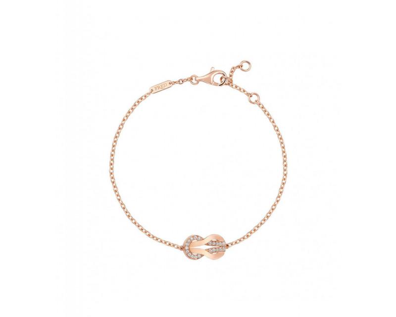 FRED Bracelet Chance Infinie moyen modèle or rose semi pavé diamants sur chaîne ajustable
