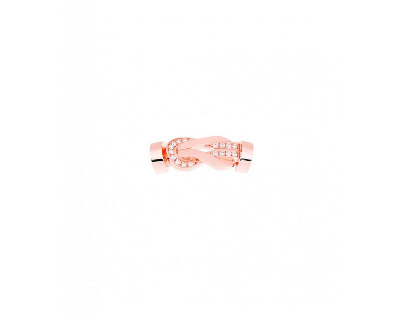 Boucle Chance Infinie MM or rose semi pavé diamants