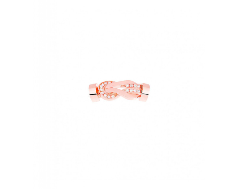 FRED Boucle Chance Infinie MM or rose semi pavé diamants