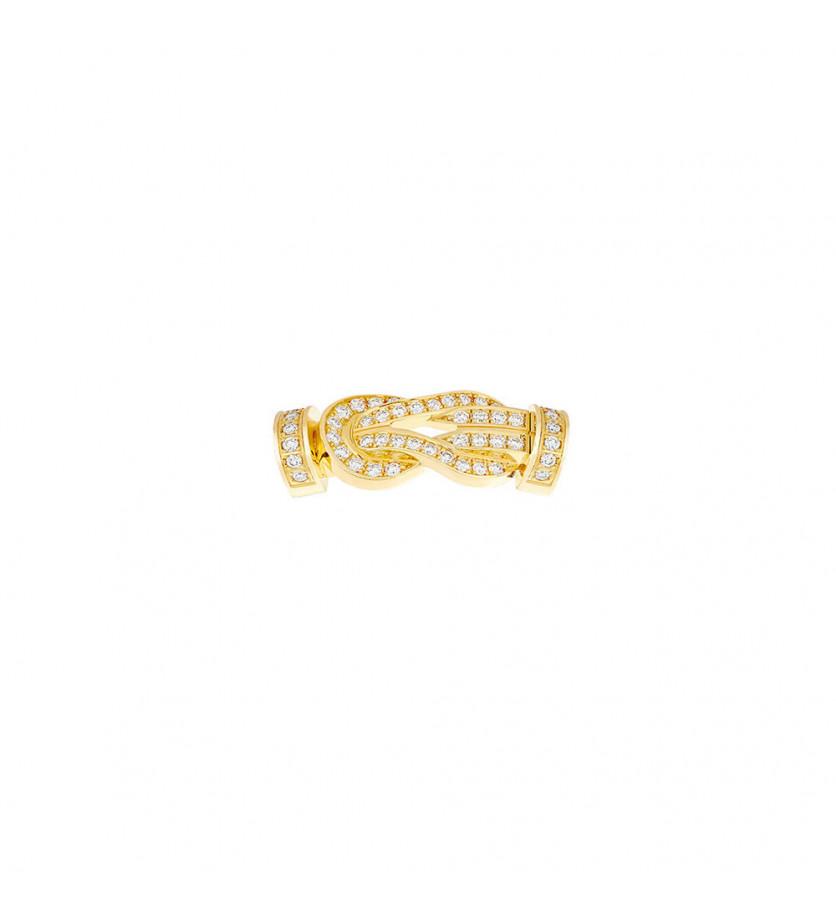 Boucle Chance Infinie MM or jaune pavé diamants