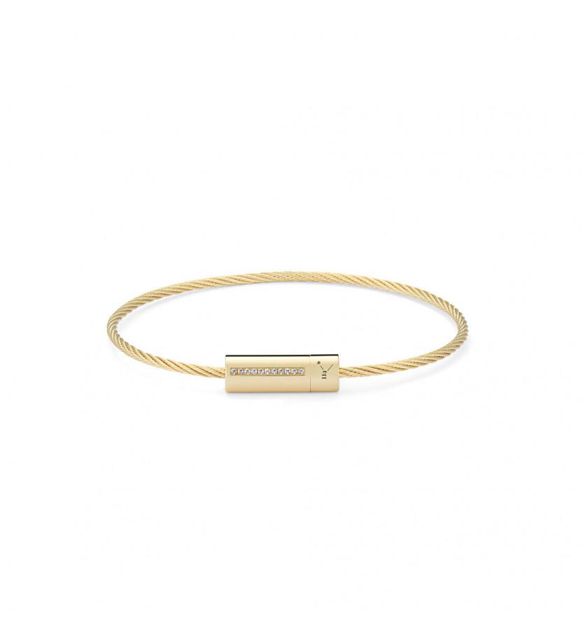 Bracelet câble 9 grammes or jaune lisse poli ligne diamants