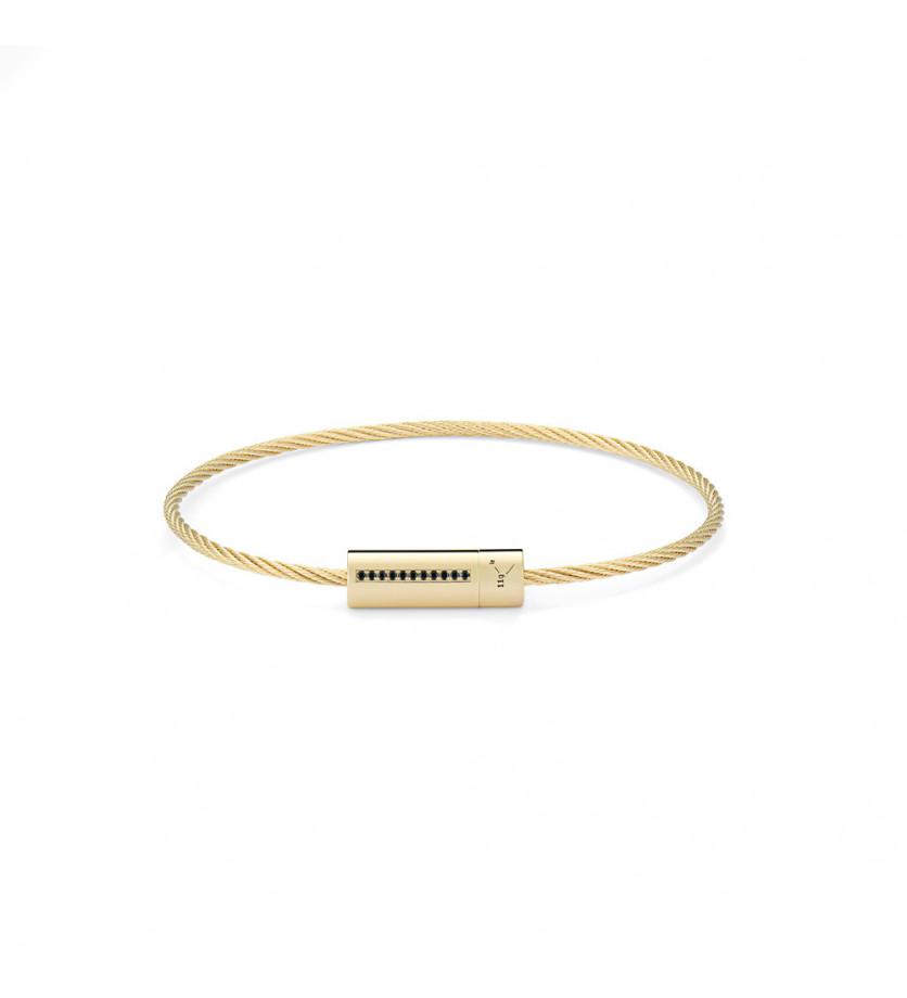 Bracelet câble 9 grammes or jaune lisse poli ligne diamants noirs
