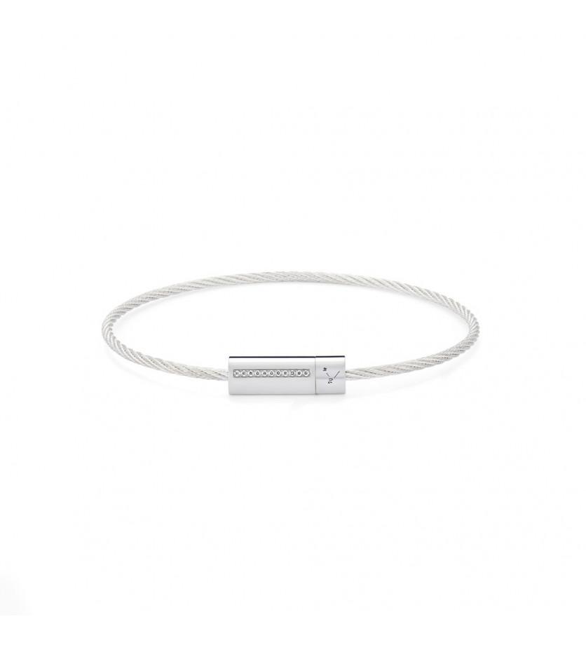 Bracelet câble 7 grammes argent lisse poli ligne diamants blancs