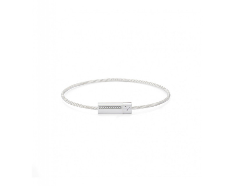 Bracelet Câble 7 Grammes argent lisse poli diamants blancs