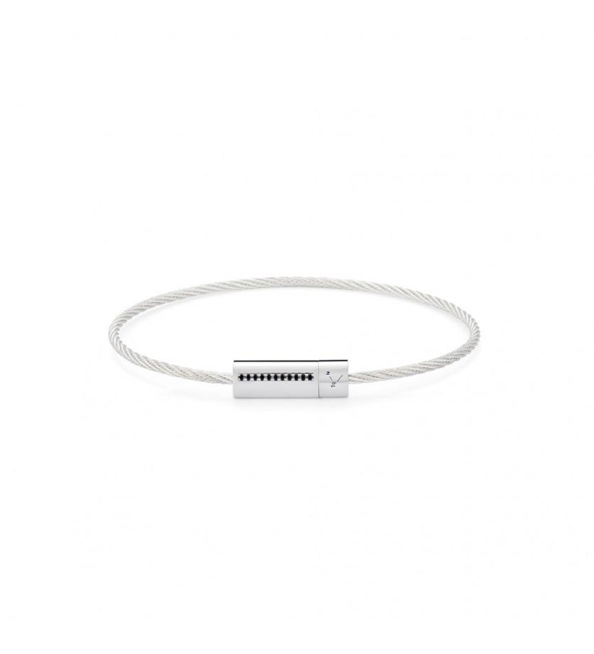 LE GRAMME Bracelet câble 7 grammes argent lisse poli ligne diamants noirs
