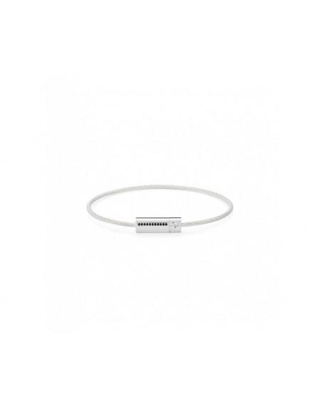 Bracelet câble 7 grammes argent lisse poli ligne diamants noirs
