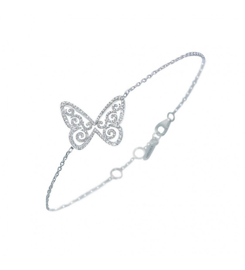 Bracelet Papillon Arabesque GM or blanc diamants