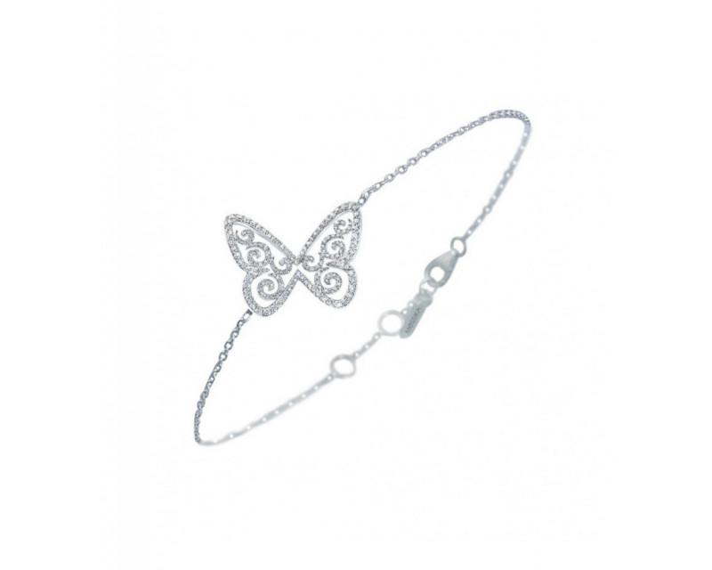 Bracelet Papillon Arabesque GM or gris diamants