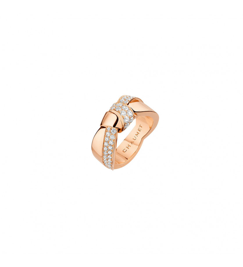 CHAUMET Bague Liens Seduction GM or rose pavée diamants