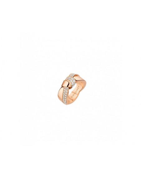 Bague Liens Seduction GM or rose pavée diamants