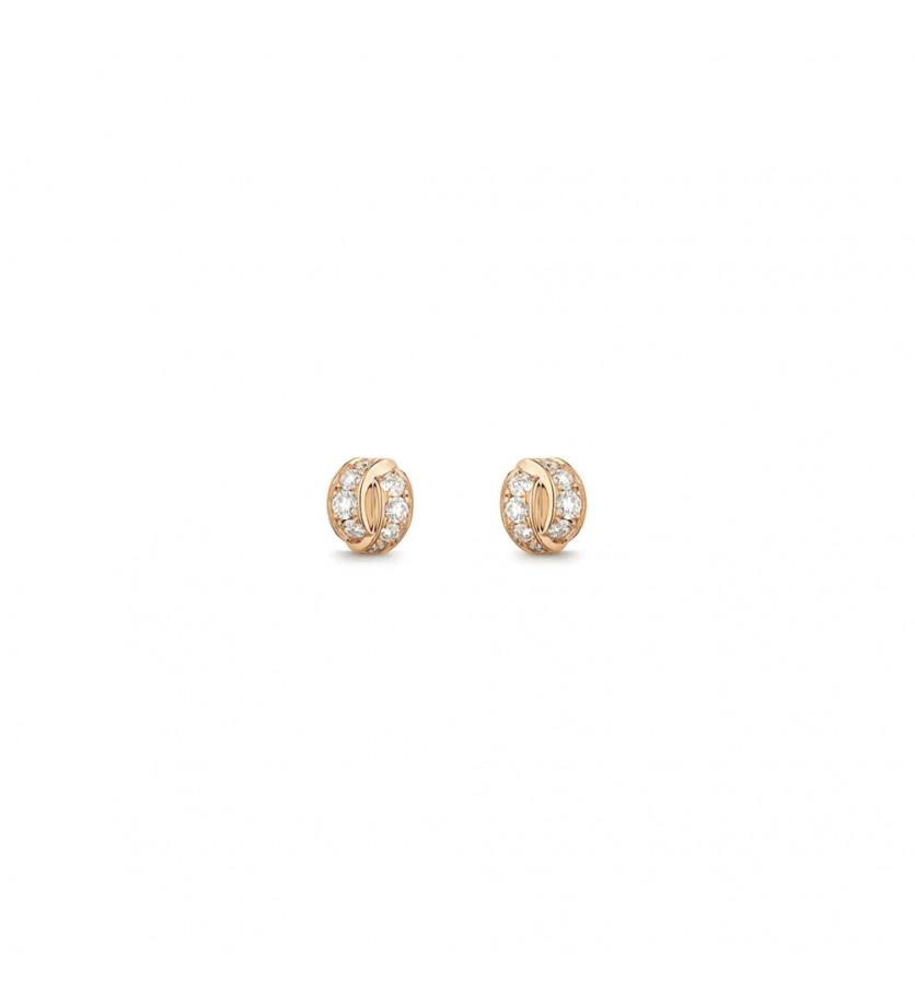 Puces d'oreille Liens Seduction or rose diamants