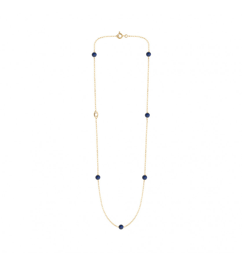 CHARLET Collier Massilia lapis lazuli or jaune