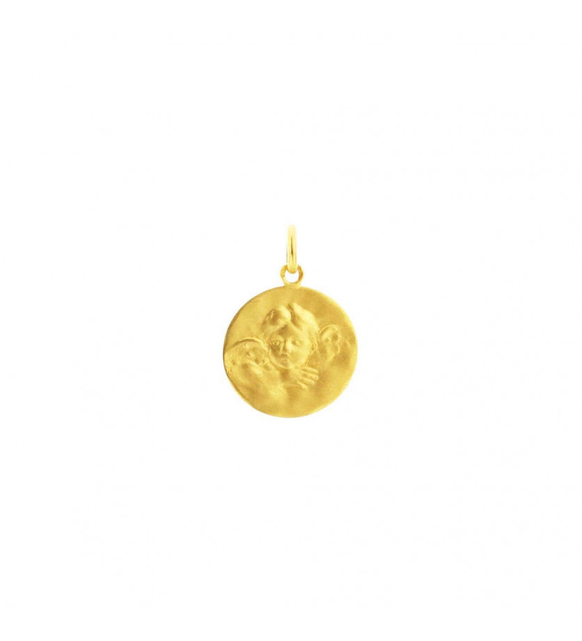 ARTHUS BERTRAND Médaille Ange de Robida or jaune 18mm mince