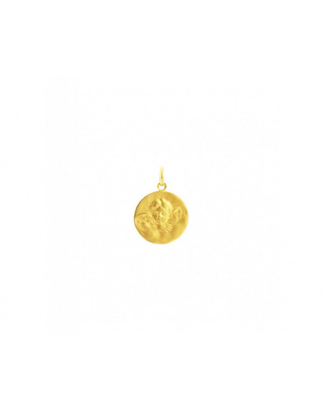 Médaille Ange de Robida or jaune 18mm mince