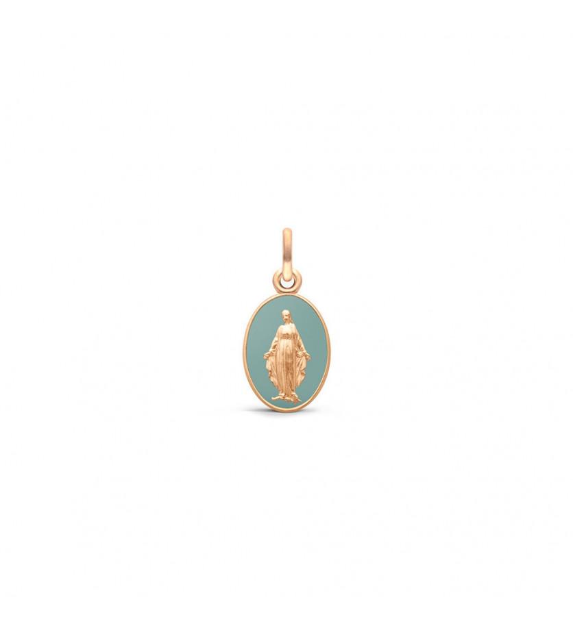 ARTHUS BERTRAND Médaille Vierge Miraculeuse laque vert grise or rouge, hauteur 13 mm