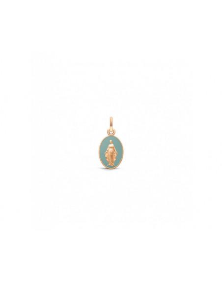 Médaille Vierge Miraculeuse 13mm laque vert grisé or rouge