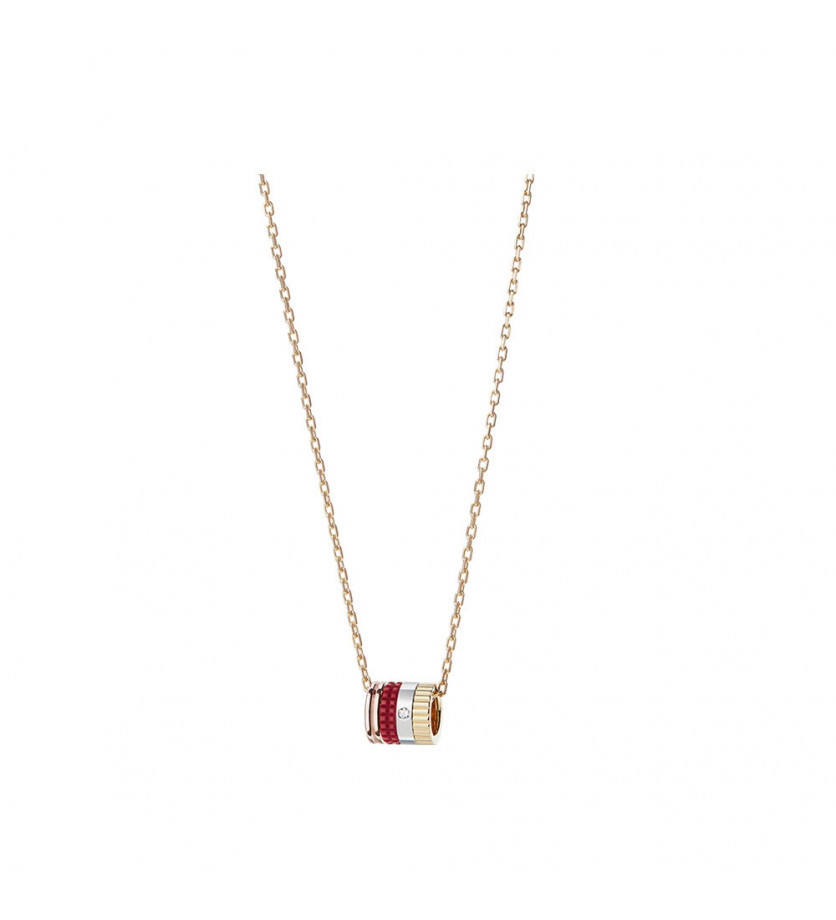 BOUCHERON Pendentif mini Quatre Red Edition or jaune or rose or blanc céramique rouge diamant
