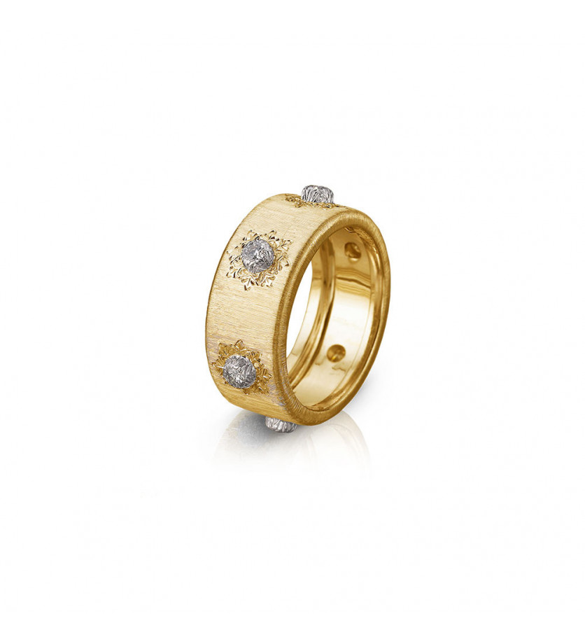 BUCCELLATI Bague Eternelle Macri or jaune or gris diamants