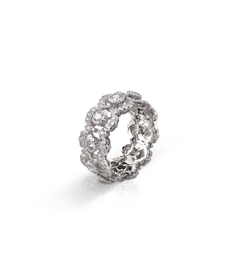 BUCCELLATI Bague Eternelle Ghirlanda or gris diamants