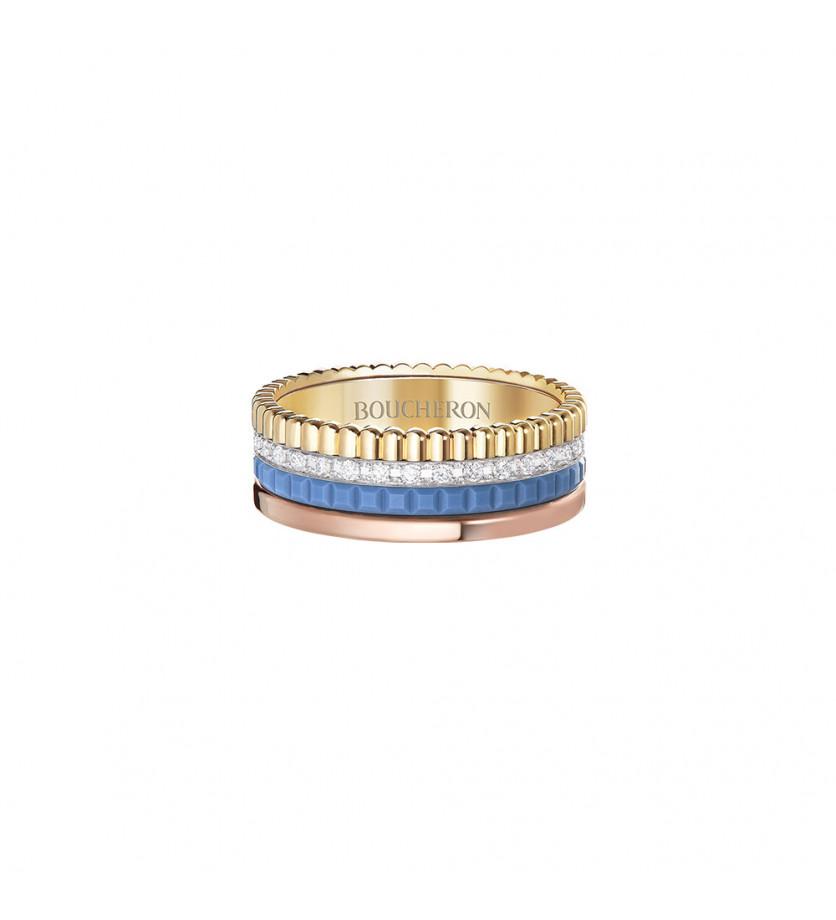 BOUCHERON Bague Quatre Blue Edition S 3 ors diamants et céramique bleue