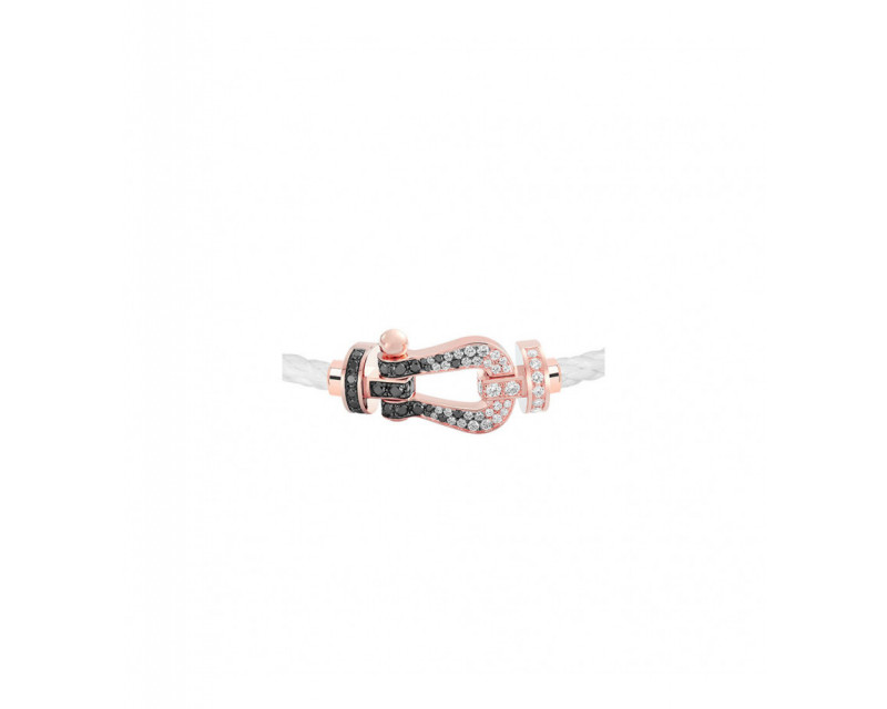 FRED Manille Force 10 GM or rose full pavé diamants noirs et blancs