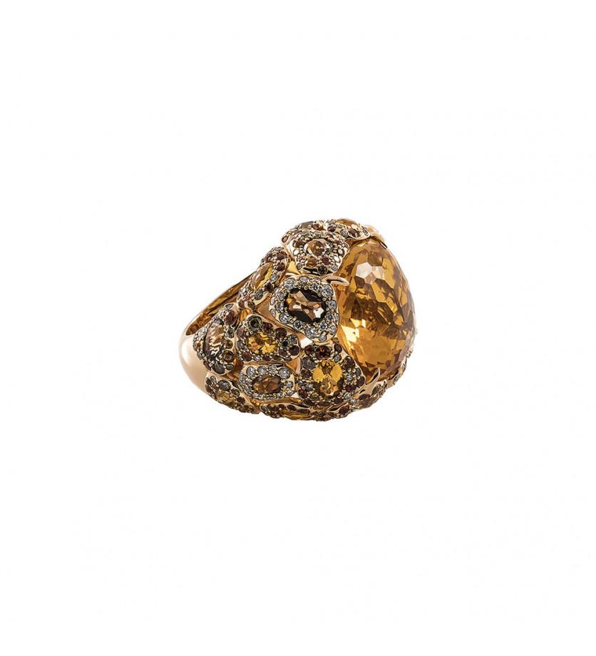 Bague Seda citrine quartz fumés saphirs oranges diamants champagnes et diamants
