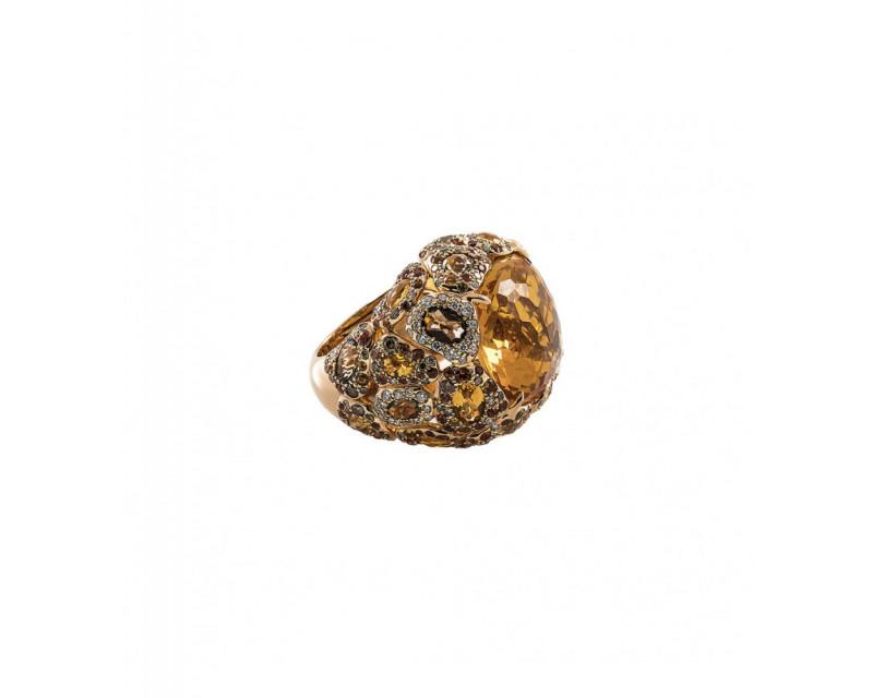 SEDA MANOUKIAN Bague Seda citrine quartz fumés saphirs oranges diamants champagnes et diamants
