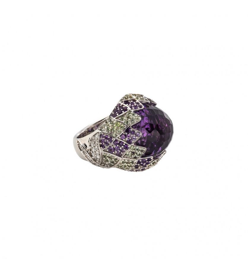 Bague Anahide or blanc améthyste monture effet palmettes saphirs verts améthystes diamants