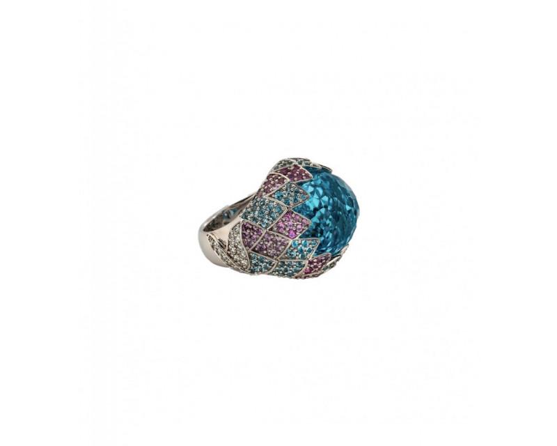 Bague Anahide or blanc topaze bleue monture effet palmettes saphirs roses topazes bleues diamants