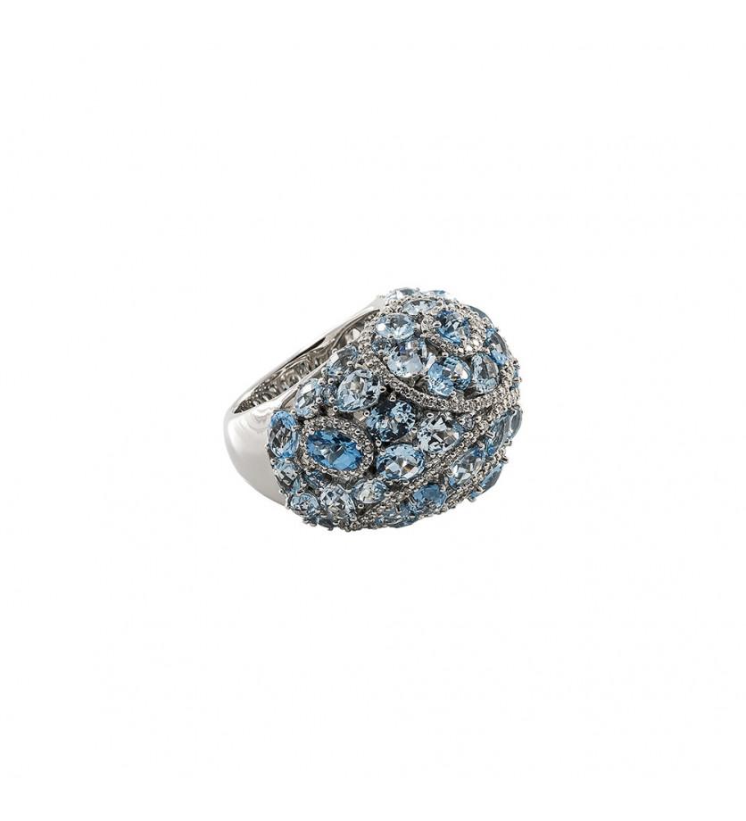 Bague Manouk or blanc topazes bleues diamants