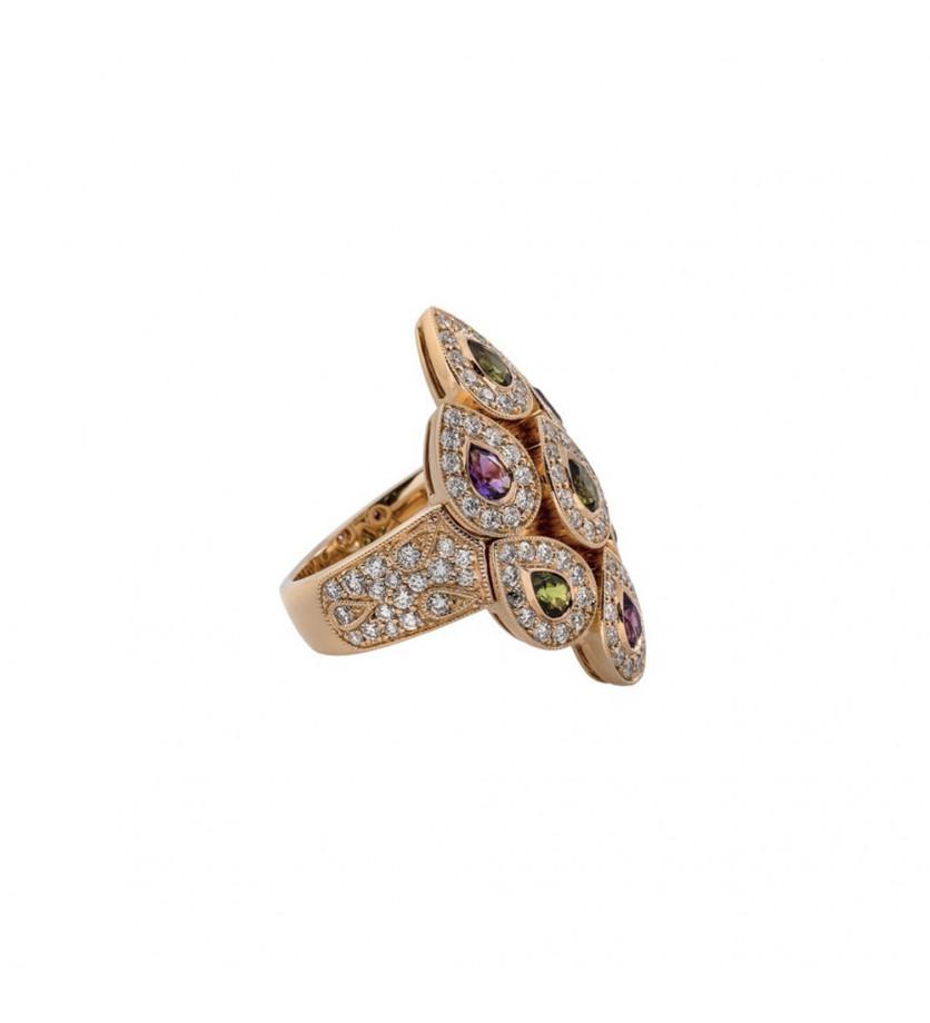 Bague Sevane or rose tourmalines vertes améthystes diamants
