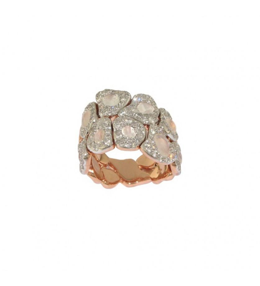 SEDA MANOUKIAN Bague Gayané or rose pierre de lune blanche diamants noirs diamants