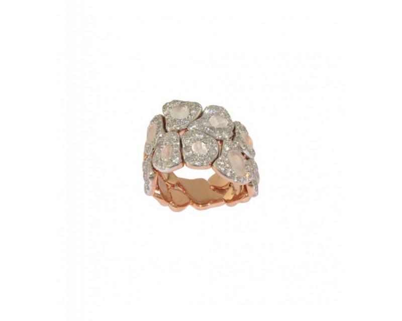 Bague Gayané or rose pierre de lune blanche diamants noirs diamants