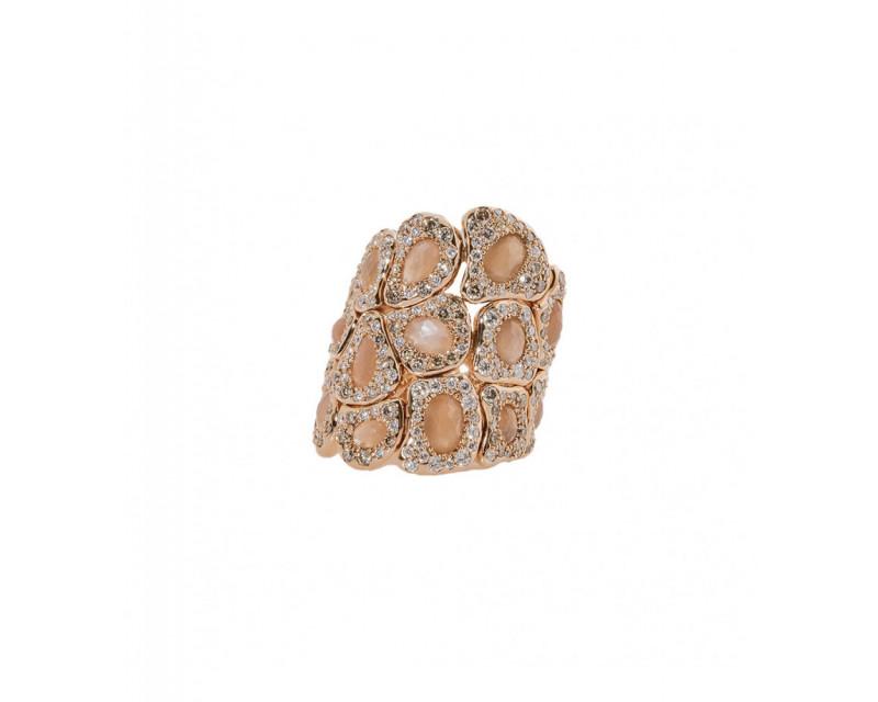 Bague Maryam or rose pierre de lune rose diamants champagne et diamants
