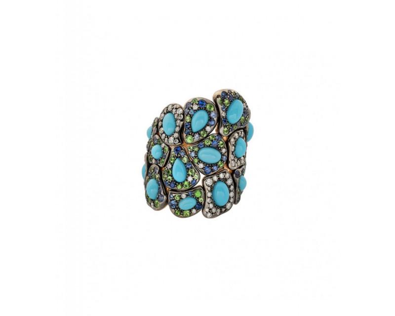 Bague Maryam or rose turquoises saphirs bleus tsavorites diamants