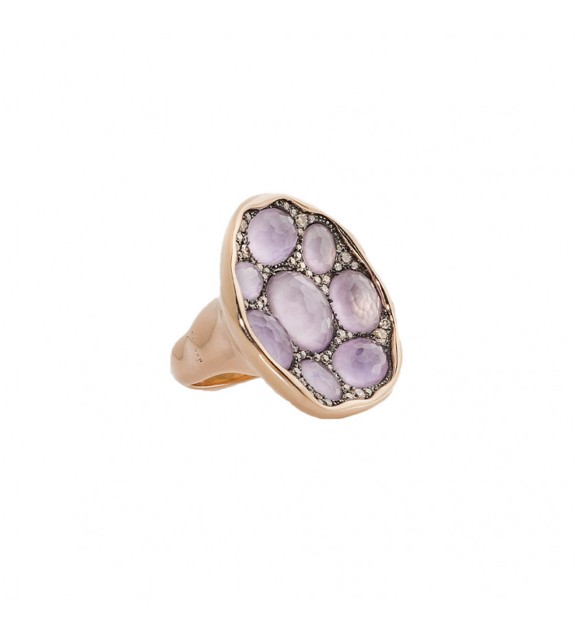 SEDA MANOUKIAN Bague Tamar or rose améthystes roses diamants champagne
