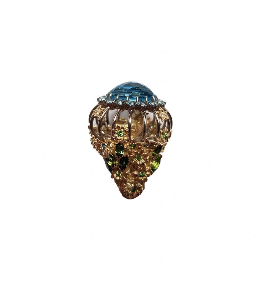 Bague Alek cage ornée topaze bleue aigue-marines tsavorites tourmalines vertes diamants