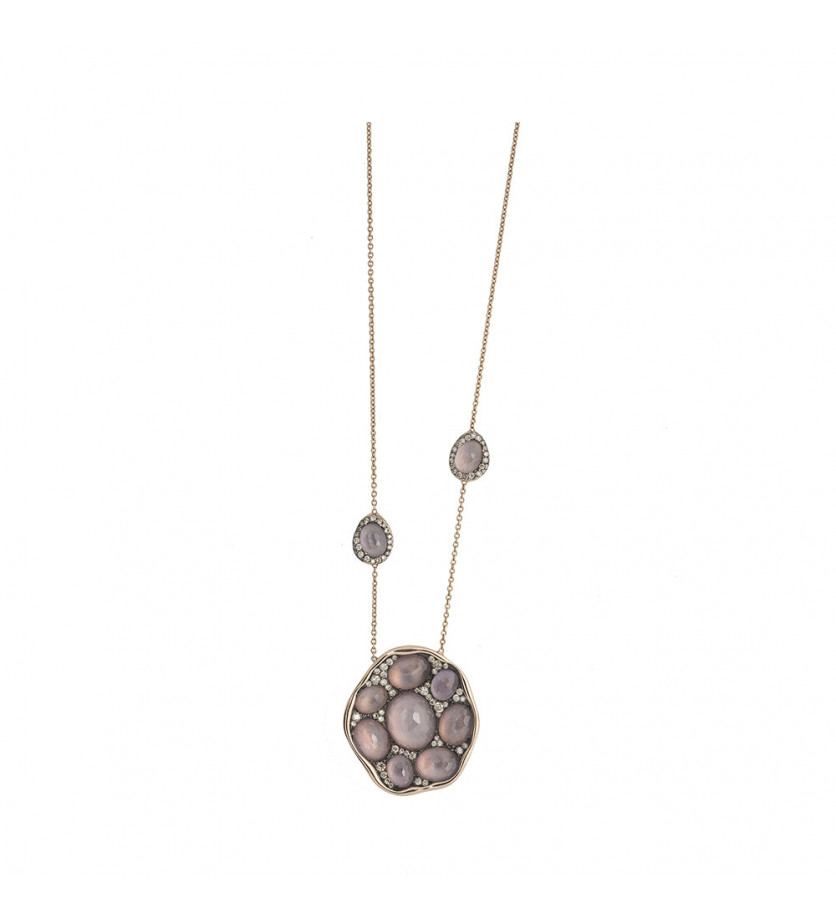 Collier Tamara or rose améthystes roses diamants champagne