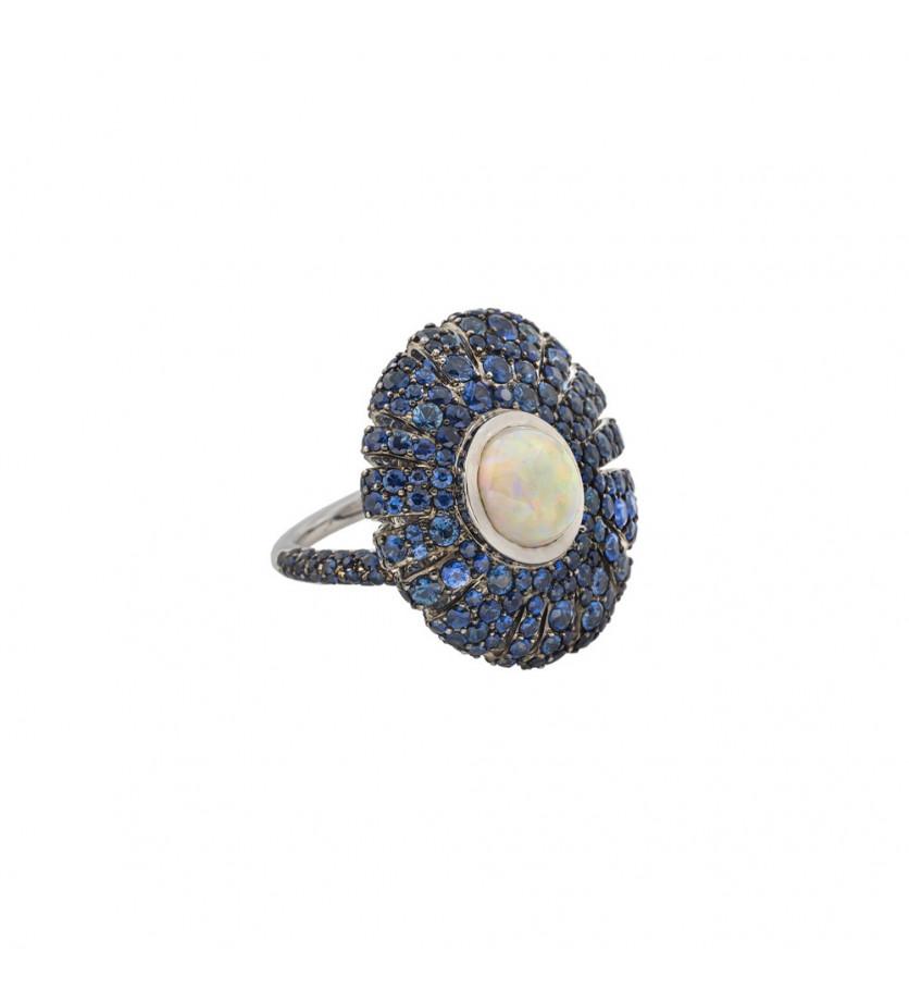 Bague Taline or rose opale saphirs bleus